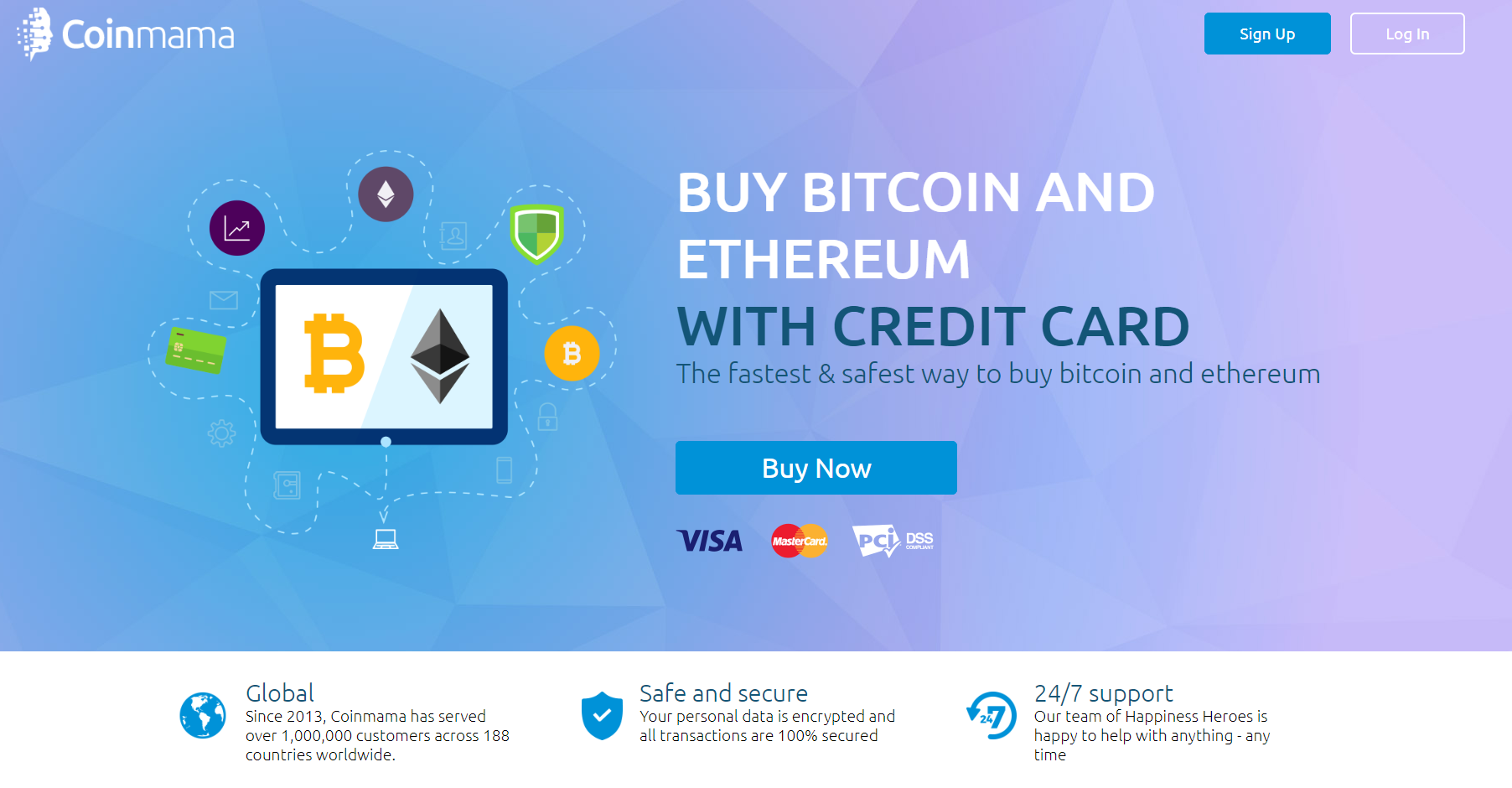 Buy BitCoin and Ethereum with credit card